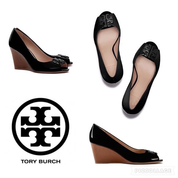ed55fd203ef9 Authentic Tory Burch Peep-toe wedge Black Patent