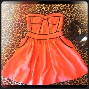 Sugarlips Orange Strapless Flare Dress w/ pockets