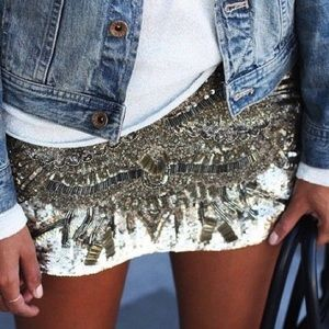 LOVEMARKS sequined mixed metal mini skirt