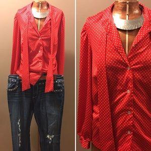 Vintage 1970s Red Polka Dot Blouse