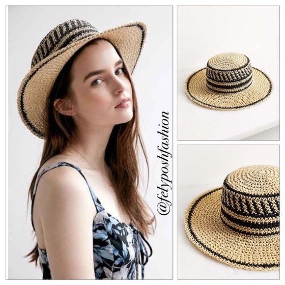 a88f07e3ccd Urban Outfitters Geo Straw Packable Boater Hat