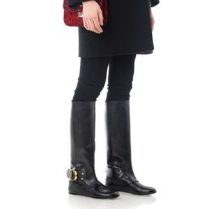 Alexander McQueen Shoes - Knee High Alexander McQueen Riding Boots Flats