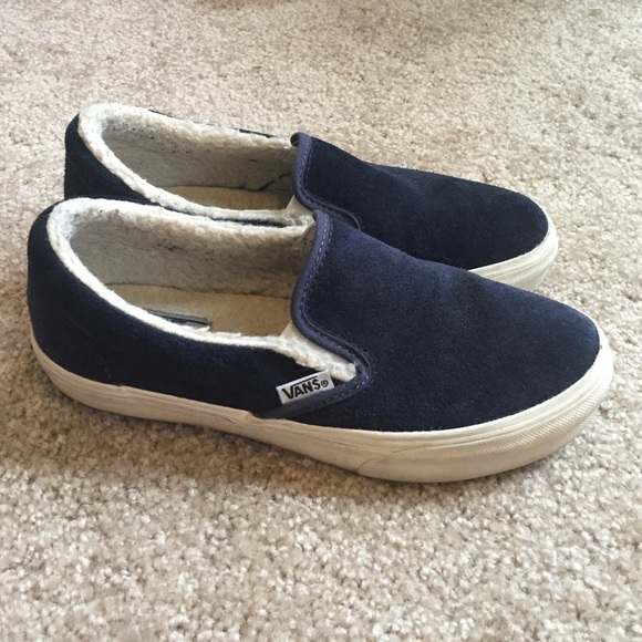 28c5709563bd8b Navy Slip-on Vans with Fur. M 57c9c1814e8d175640007f43