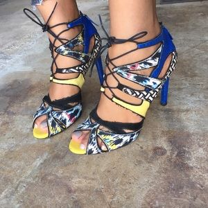 Zara multi colored strappy heels