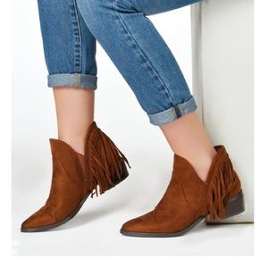 JustFab Shoes - Whiskey Brown Suede Fringe Ankle Boots
