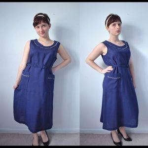 Vintage 50s / 60s Blue Sailor Style Dress
