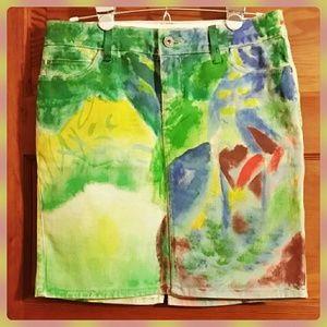 Leaf River Hand Painted Denim Skirt