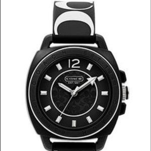 Coach boyfriend black & white silicone watch