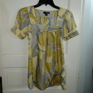 Retro Yellow Floral Print Tunic