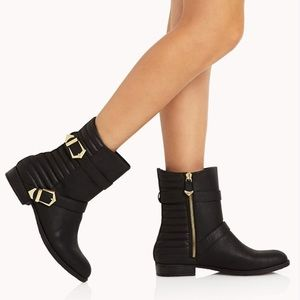 Forever 21 Shoes - Black Leather Buckled Moto Boots
