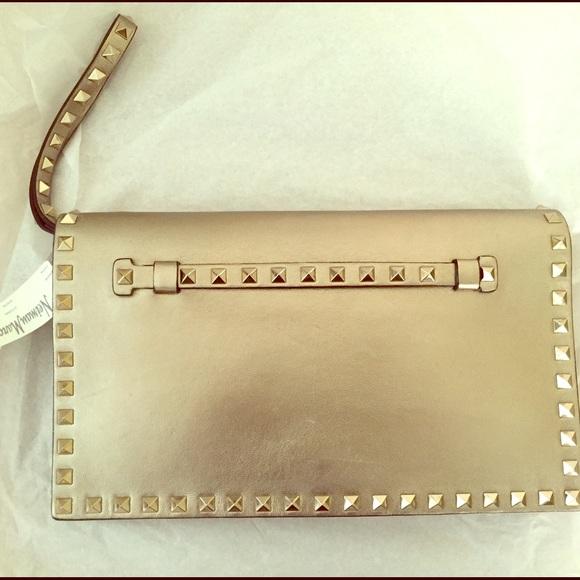 21802e706c4b5 Valentino Rockstud Flap Clutch Bag Bronze Gold
