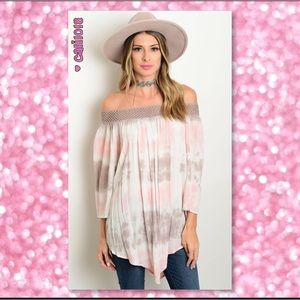 ‼️2NITE ONLY LAST ONE🆕Brown & Pink Off Shoulder