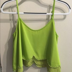 Green scalloped crop top