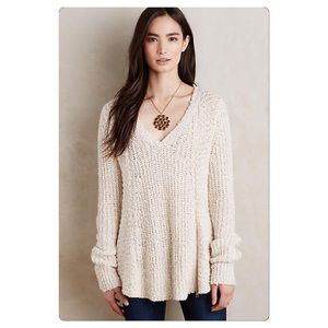 Anthropologie Zipped Stitch Sweater