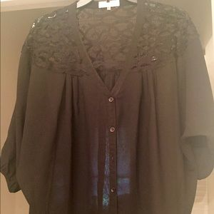 Sugarlips Tops - Black lace Sugarlips blouse, size Medium