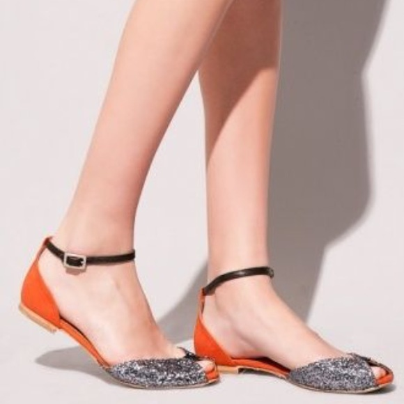 9a353a978fc Anthropologie peep toe FLATS ANKLE STRAP SILVER