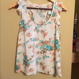 Tops - Floral top, white/orange/blue