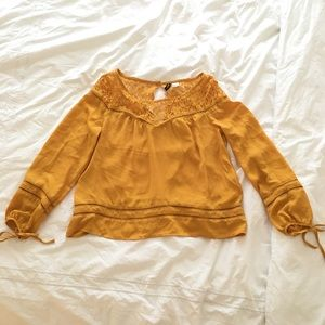 H&M Tops - H&M Mustard Lace Blouse
