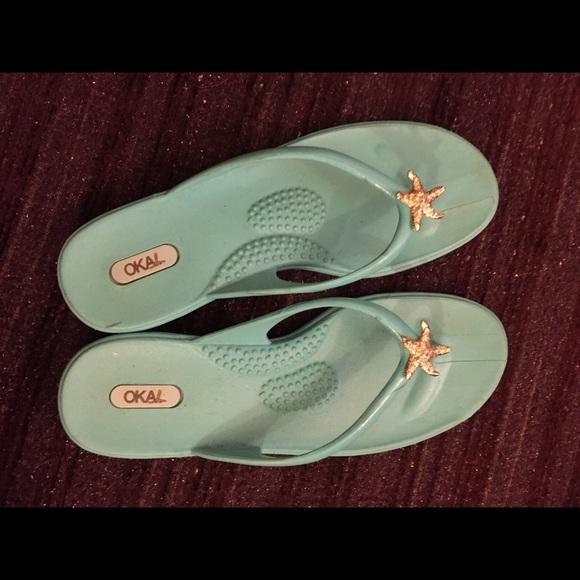 9061440b882 Shoes | Oka B Blue Flip Flops With Gold Starfish | Poshmark