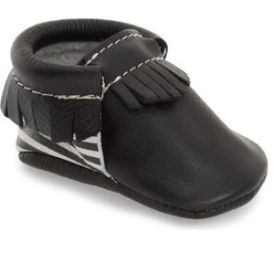 Black Freshly Picked Moccs with stripes