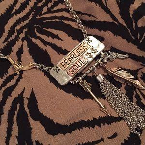 Fearless Soul arrow pistol feather necklace set