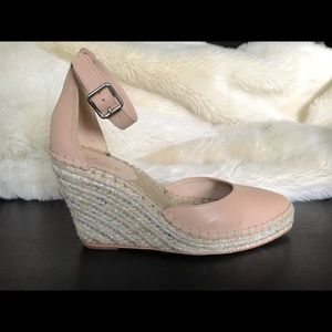 Loeffler Randall nude leather espadrille wedge