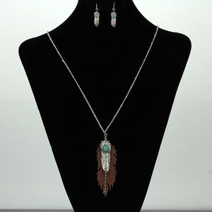 LAST 3 Long feather statement necklace earring set