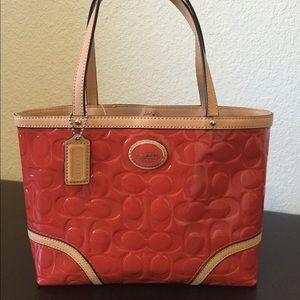 Coach Handbags - Coach Peyton Embossed Tan Patent Top Tote Bag