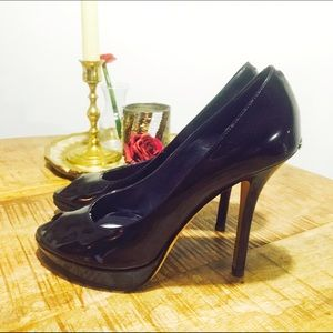 Authentic Christian Dior Patent Leather Peep Toe