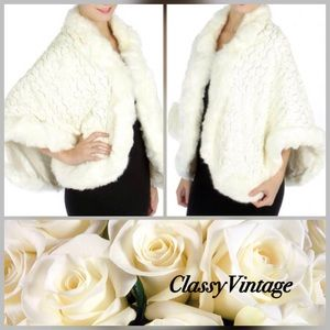 Boutique Jackets & Blazers - White fur and sequined cape