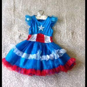 Captain America girl's costume dress