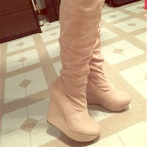 Toi et Moi Shoes - Beige Suede Knee High Wedge Boots
