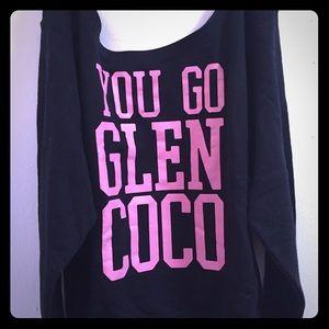 "Off the shoulder ""you go glen coco"" sweat-top"