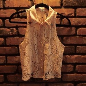 Pink lace vest