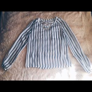 French Connection Tops - French Connection Blue/White/Gold Striped Blouse