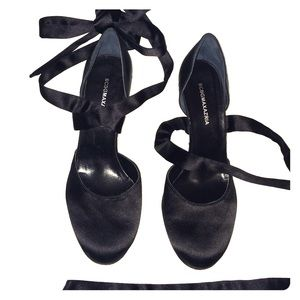 BCBGMaxAzria Shoes - BCBG black satin ballerina style d'Orsay pumps