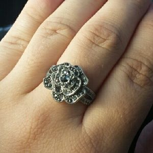 Jewelry - Black Crystals 18k White Gold Plated Flower Ring