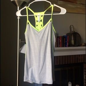 Kyodan Tops - Neon & Gray athletic tank top with unique back