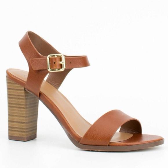 e77247e0a49 Cognac Strappy Sandals Block Heel. M 57ca663b713fde9bf400231e
