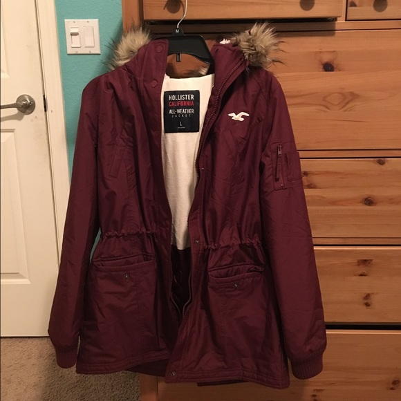 58% off Hollister Jackets & Blazers - Maroon Hollister all weather ...
