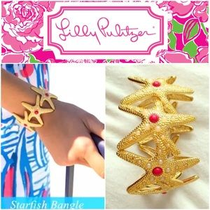 Lilly Pulitzer Jewelry - Lilly Pulitzer STARFISH CUFF BRACELET Gold w/ Pink