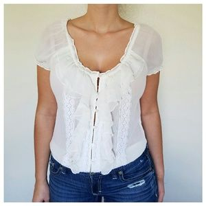 Abercrombie & Fitch Tops - NWOT Off White Sheer Ruffle Blouse