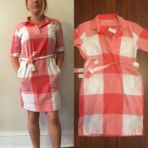 Gap shirt dress red and white plaid