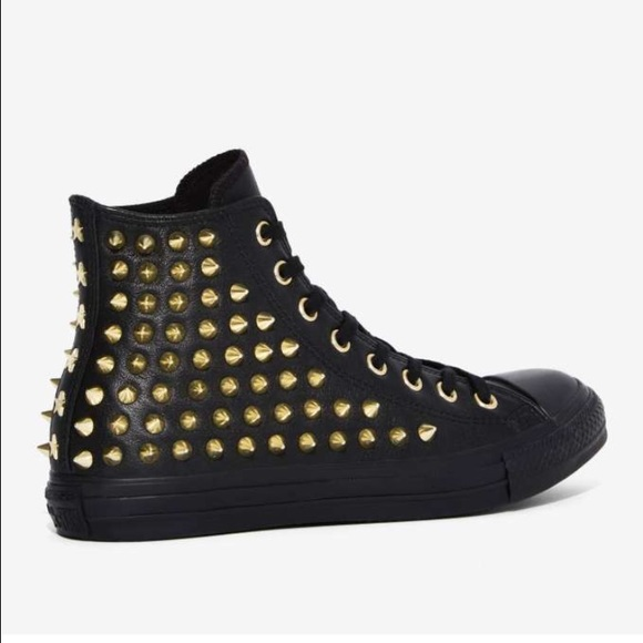 14909de5c30a6b Black converse gold studded high top.