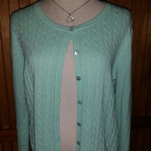 Mint Green Cable Knit Cardi