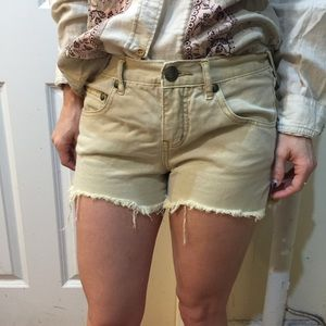 Free People Pants - FREE PEOPLE Tan Cut Off Shorts