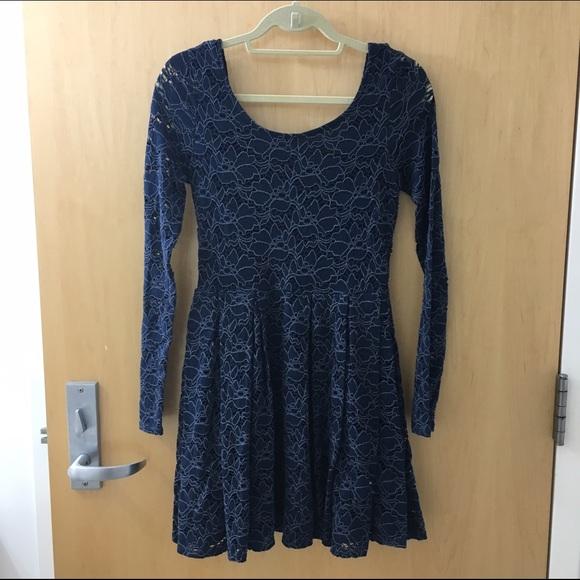 Navy Lace Sleeve Dress
