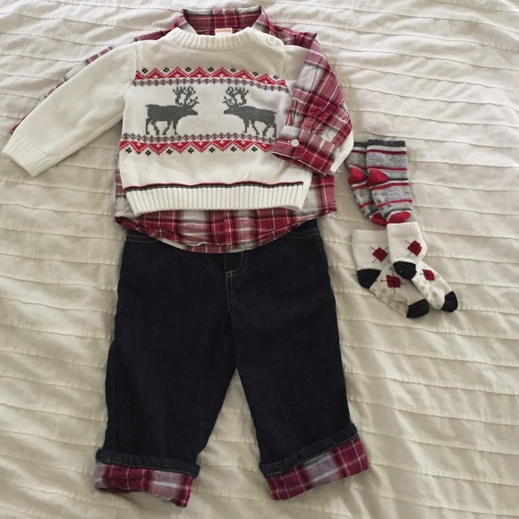 285b81ce6 Gymboree Matching Sets | Christmas Outfit Reindeer Sweater Jeans ...