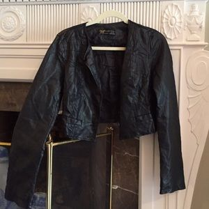 Zara Black Crop Faux Leather Jacket