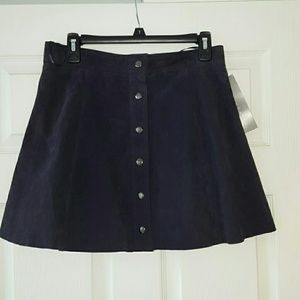 Bagatelle navy blue suede button front skirt NWT